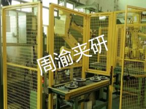 [自动化夹具案例分享]刹车盘CNC加工机床自动上下料机器人自动生产线
